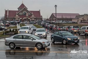 Traffic at Easter morning Mass at St. Paul.