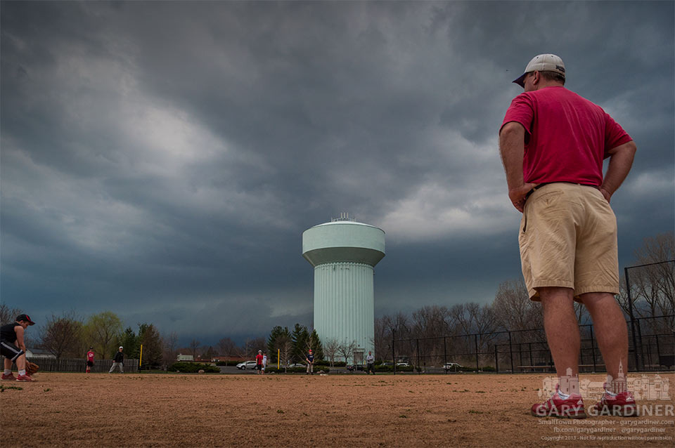 Storm clouds over baseball field