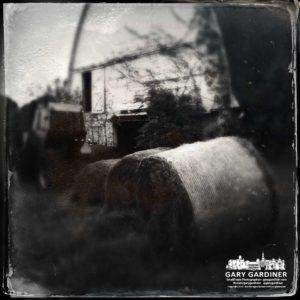 Hay bales and barn at Cooper Road Farm