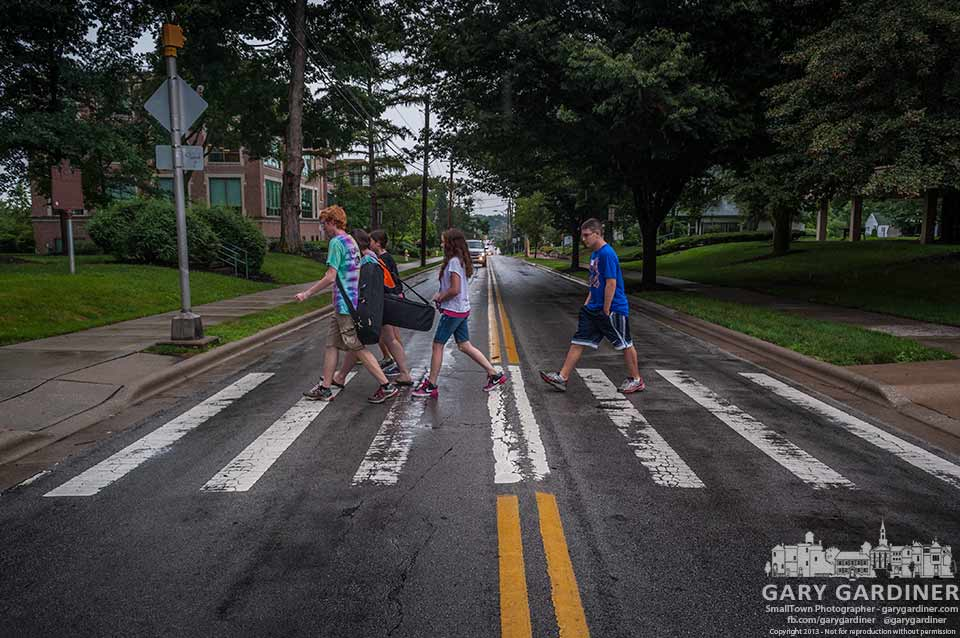 Music camp students at Otterbein have their Abbey Road moment crossing Main Street during class change. My Final Photo for July 22, 2013.