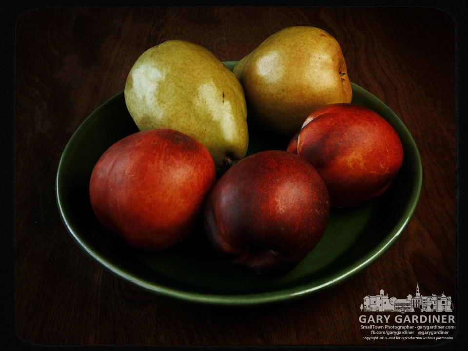 Pears and nectarines on the breakfast table are My Final Photo for Aug. 15, 2013.