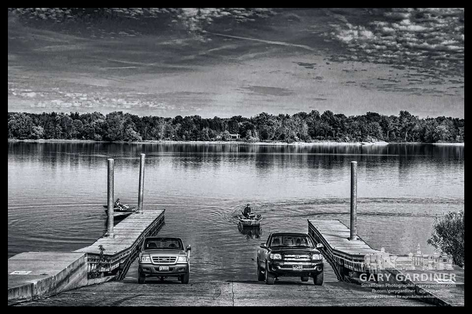 Two fishermen remove their boats from Hoover Reservoir after making their last fishing trip of the season. My Final Photo for Oct. 28, 2013.