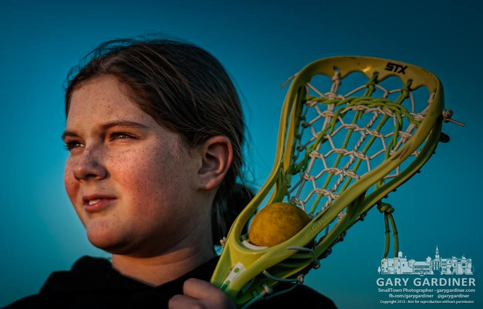 Granddaughter Ashley poses for a sports portrait after her lacrosse workshop at Westerville North. My Final Photo for Oct. 27, 2013.