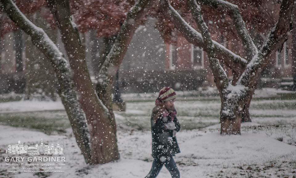 An Otterbein student walks across campus in an afternoon snowfall. My Final Photo for  Nov. 26, 2013.