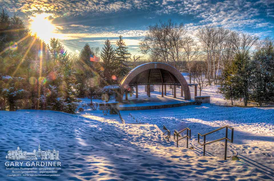 The afternoon sun brightens the snow blanketing Alum Creek Park's amphitheater. My Final Photo for Dec. 10, 2013.
