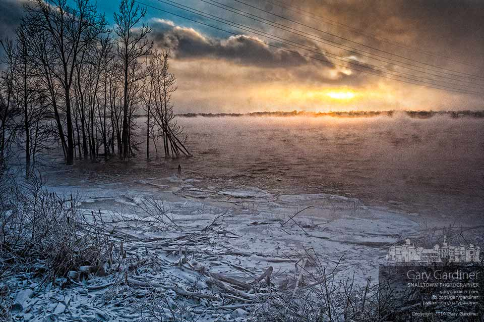 Fog blows across Hoover Reservoir as the temperature drops below zero as the sun sets. My Final Photo for Jan. 6, 2014.