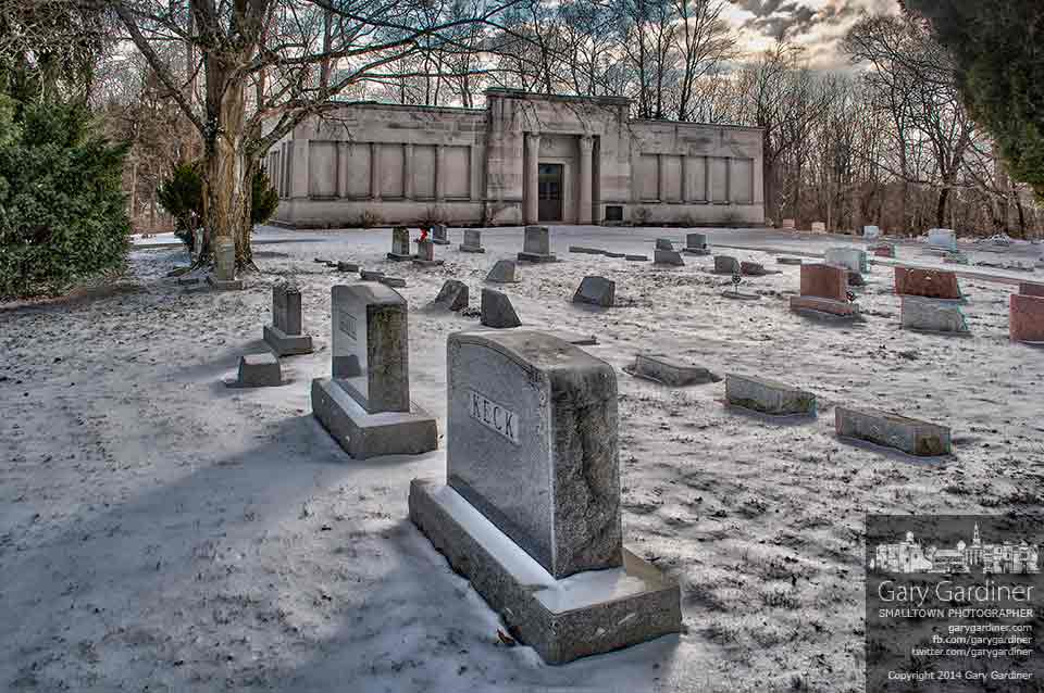 The Otterbein Mausoleum and cemetery sit under a blanket of snow on a near zero temperature day in winter in this HDR photo. My Final Photo for Jan. 21, 2014.