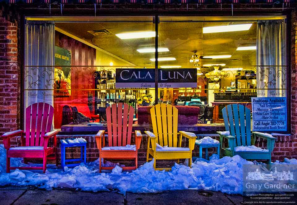 The colorful chairs outside Cala luna in Uptown Westerville brighten a cold night in winter. My Final Photo for Feb. 7, 2014.