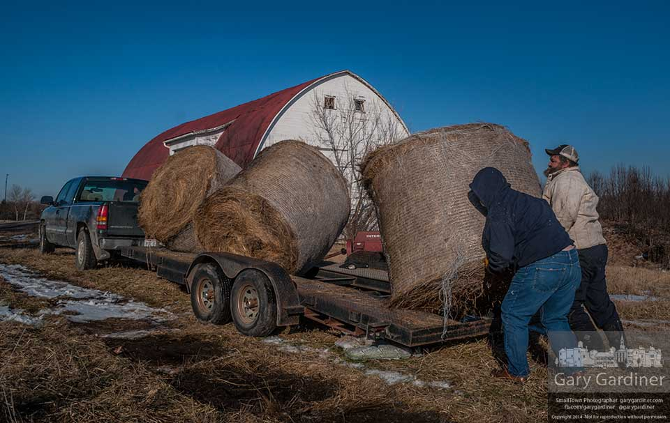 Farmers load the last of three round bales of hay on their trailer at Braun Farm where it will be moved to their farm about 30 miles away. My Final Photo for Feb. 3, 2014.
