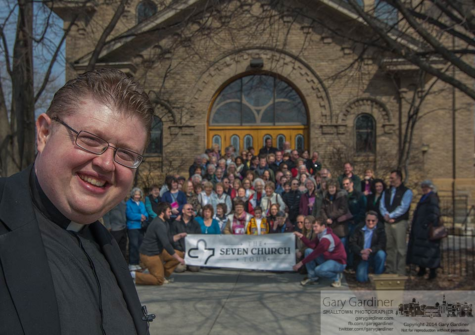 Fr. Josh Wagner poses in front of the group he took on his latest  Seven Church Tour of Columbus. My Final Photo for March 8, 2014.