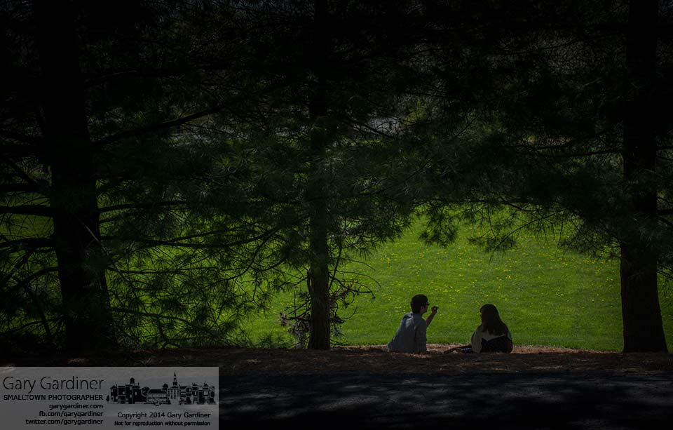 A couple sits in the shade of pine trees along the edge of Alum Creek Park on a Sunday afternoon. My Final Photo for April 27, 2014.