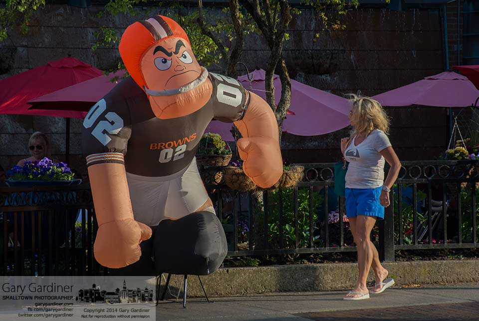 An inflated Browns player greets people as they arrive at Jimmy V's in Uptown Westerville for a meeting of the Westerville Browns Fan Club on draft day. My Final Photo for May 8, 2014.