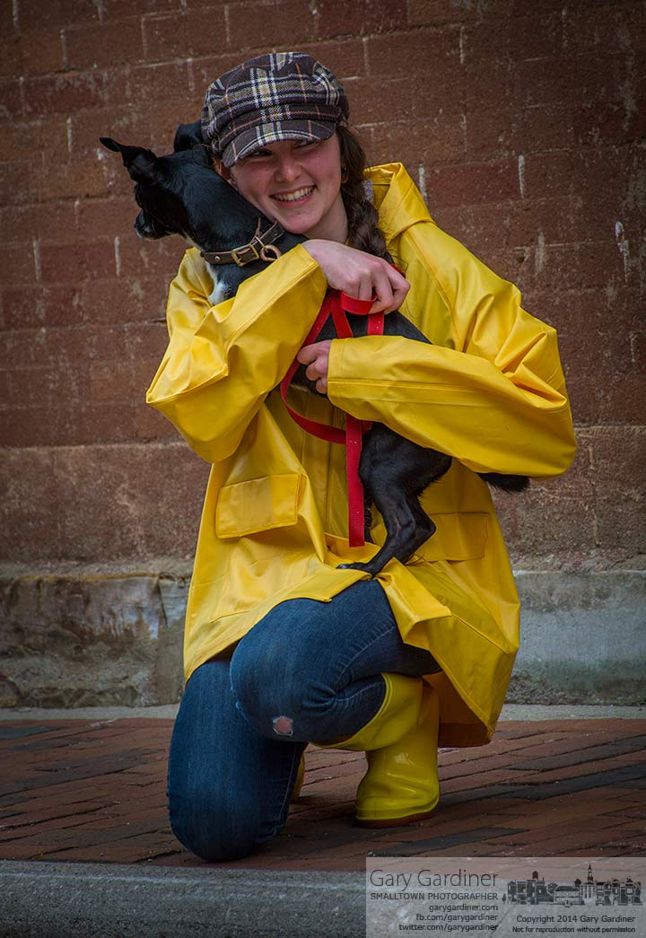 A model poses with her dog during a brief photo session at the Uptown Westerville Mini-PhotoCamp. My Final Photo for May 9, 2014.