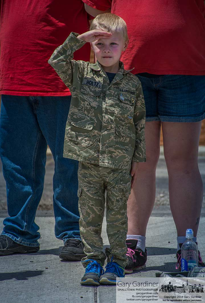 Four-year-old Nathan Holtz stands at attention and salutes as the American flag passes at the beginning of the Westerville July 4th parade. My Final Photo for July 4, 2014.