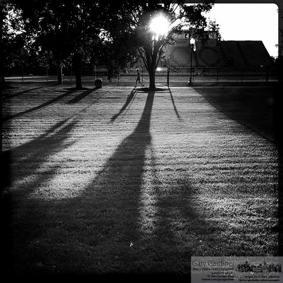 An Otterbein student walking across campus casts a long shadow across the plaza next to the recently rebuilt football field. My Final Photo for Sept. 19, 2014.