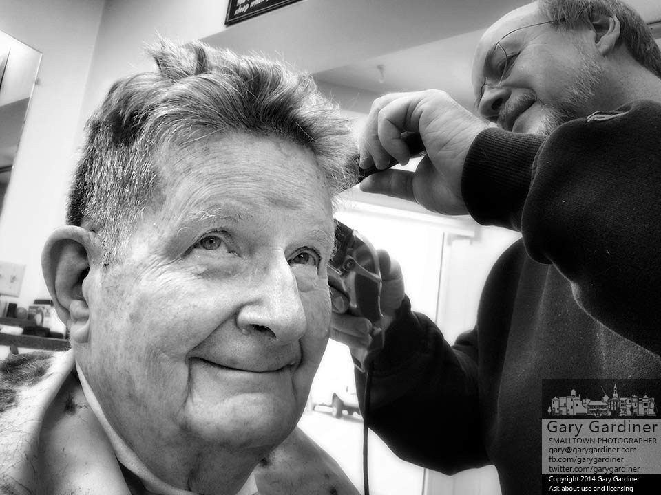 Bill smiles as he is photographed in Dan The Barber's chair getting ready for a fine presentation at Thanksgiving. My Final Photo for Nov. 25, 2014.