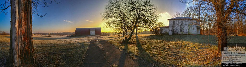 The sun rises over frost covering the fields, barn and homestead of the Braun Farm property. My Final Photo for Dec. 29, 2014.