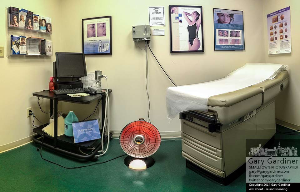 An exam and treatment room with space heater in a dermatologist's office. My final Photo for Dec. 10, 2014.
