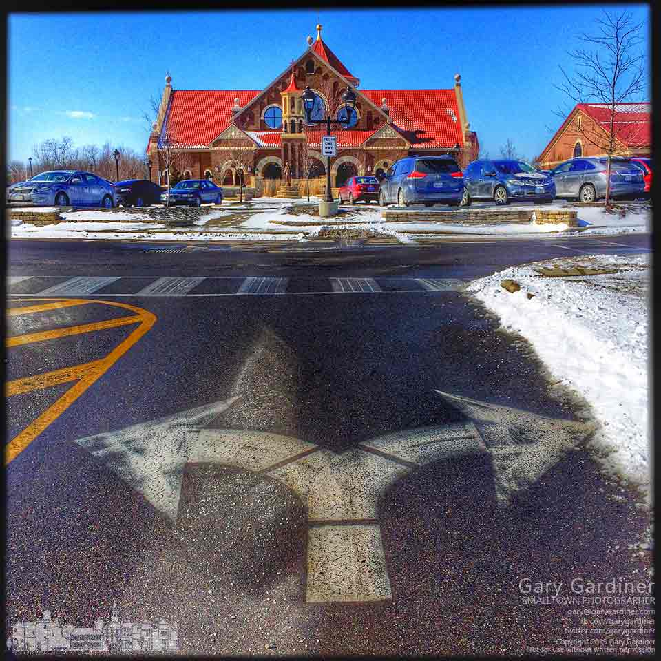 Directional markers indicate two paths to St. Paul Church in Westerville. My Final Photo for Feb. 15, 2015.