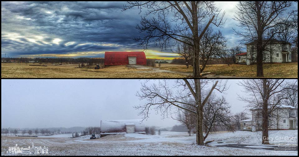 About 10 hours separated two photo of the Braun Farm on Cleveland Avenue four5 days into spring. Top photo taken in the morning. Bottom photo taken in early evening. My Final Photo for March 23, 2015.