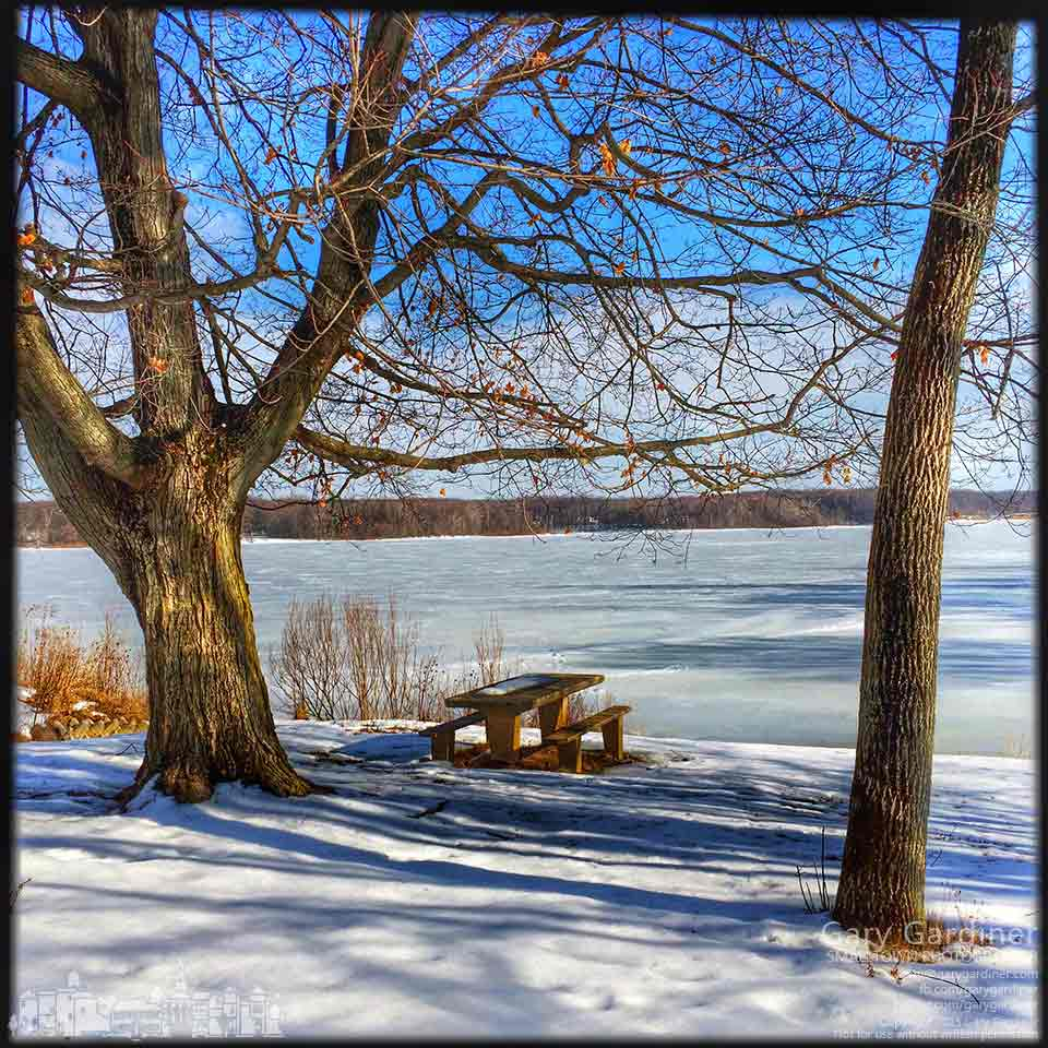 The afternoon sun casts shadows over the picnic area at Red Bank park on ice-covered Hoover Reservoir. My Final Photo for March 7, 2015.