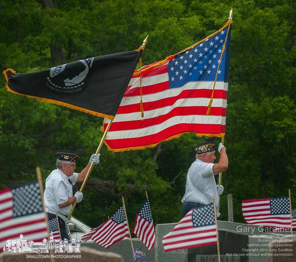 The Westerville American Legion honor guard enters Blendon Cemetery as the start of Memorial Day ceremonies. My Final Photo for May 25, 2015.