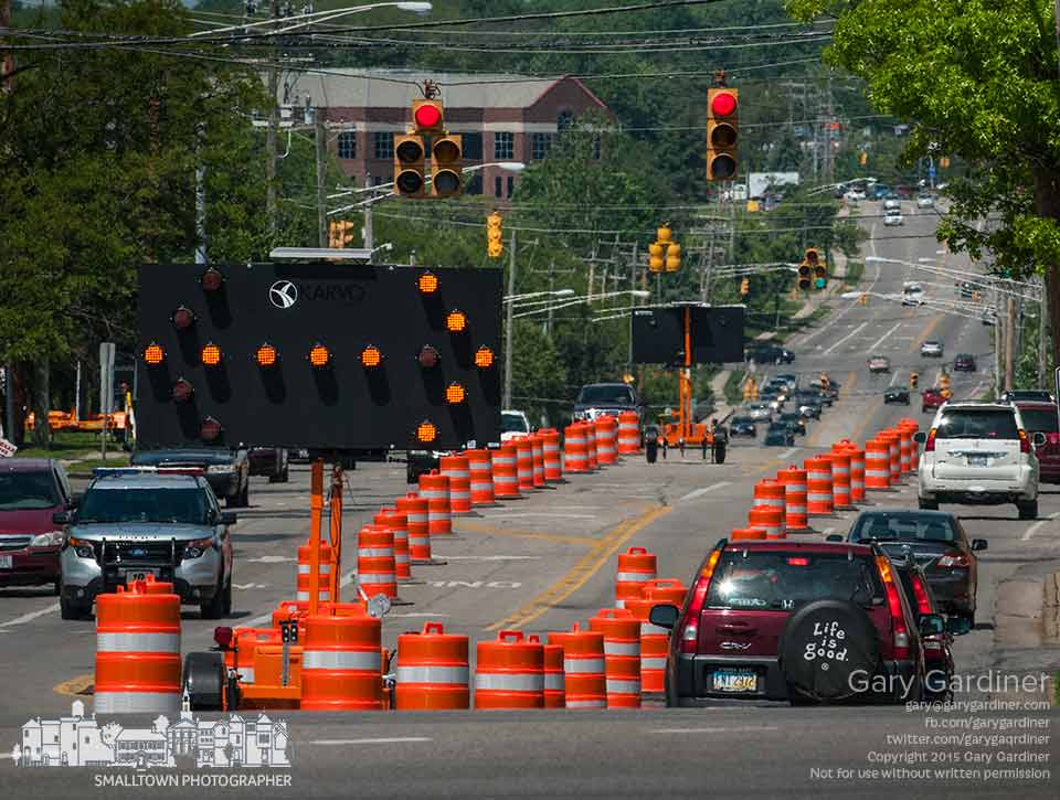 Traffic directional signs mark sections of Schrock Road closed near State as construction begins on the widening of State Street and the intersection. My Final Photo for May 26, 2015.