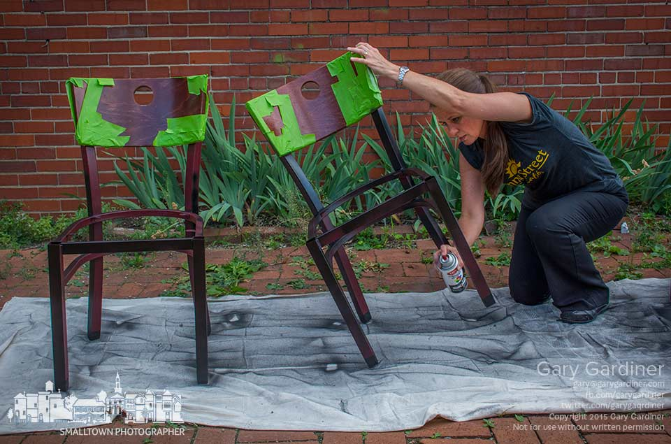 Chairs from Pasquale's receive a fresh coat of paint converting them to furniture that matches the decor of Asterisk Supper Club which replaces the Italian restaurant in Uptown Westerville. My Final Photo for June10, 2015.