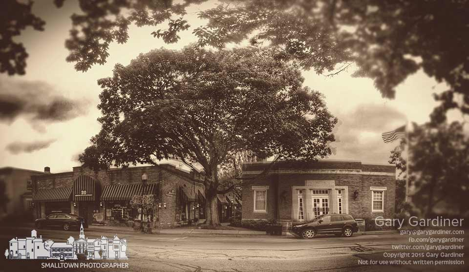 The large oak tree on the brick walkway between Java Central and the detective bureau for the Westerville police is shown in the sepia toned iPhone stitched panorama photo. My Final Photo for June 27, 2015.