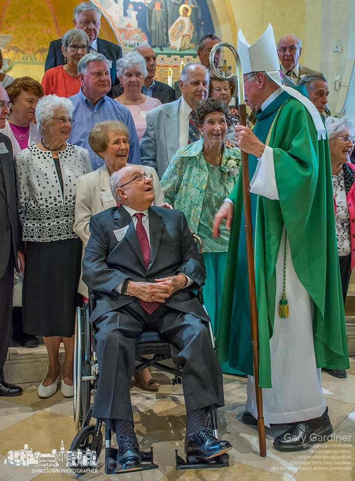 Columbus Bishop Campbell talks with a group of people married more than 60 years following a Jubilee Mass at St. Paul Catholic church in Westerville. My Final Photo for June 28, 2015.