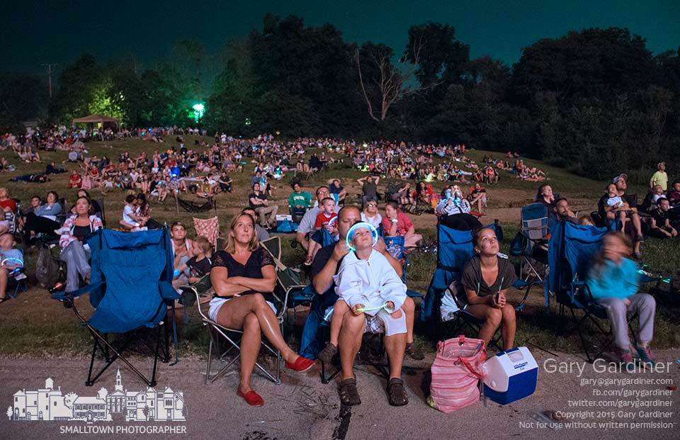 The closing bursts of fireworks light up part of the crowd gathered on Park Meadow for the closest seats to the annual display in Westerville. My Final Photo for July 4, 2015.