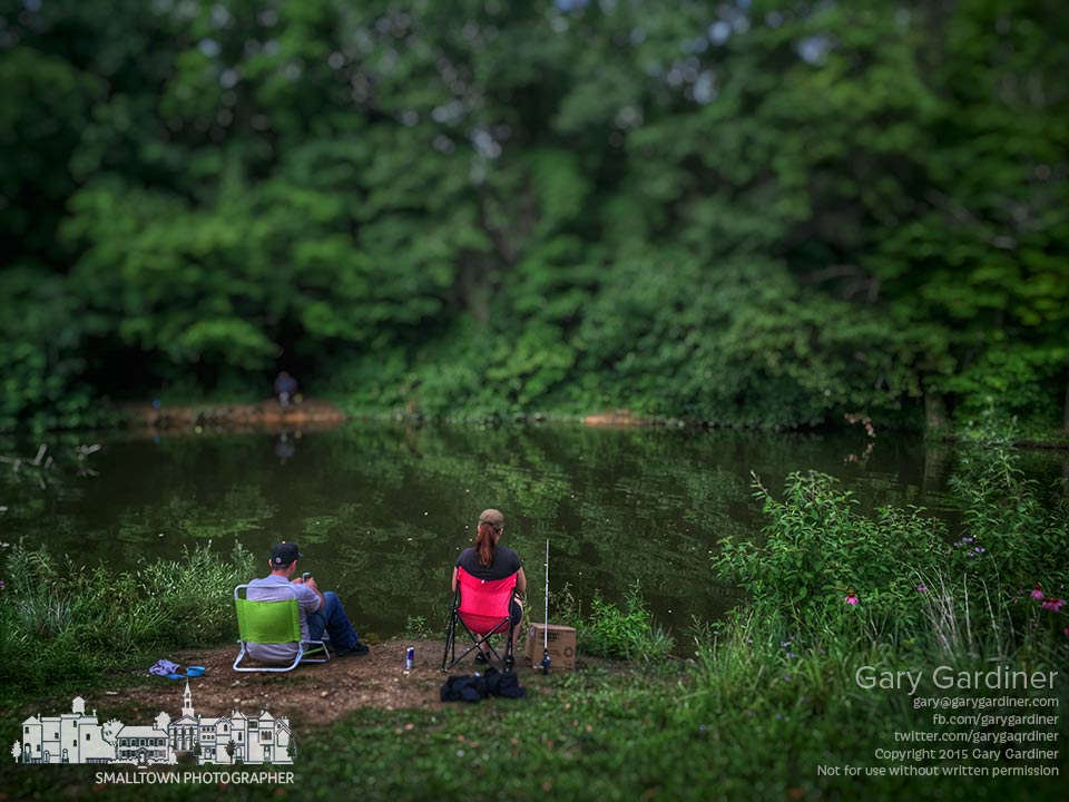 A couple fishes along the inlet at Red Bank Park on the western shore of Hoover Reservoir. My Final Photo for July 18, 2015.