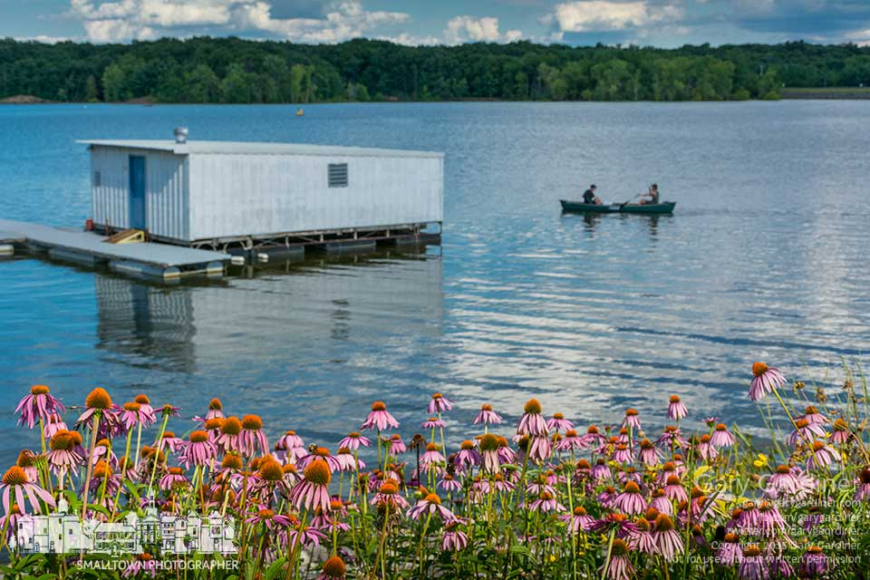 Canoeists paddle past cornflowers on the shore of Hoover Reservoir near the Columbus park ranger's floating dock. My Final Photo for August 1, 2015.