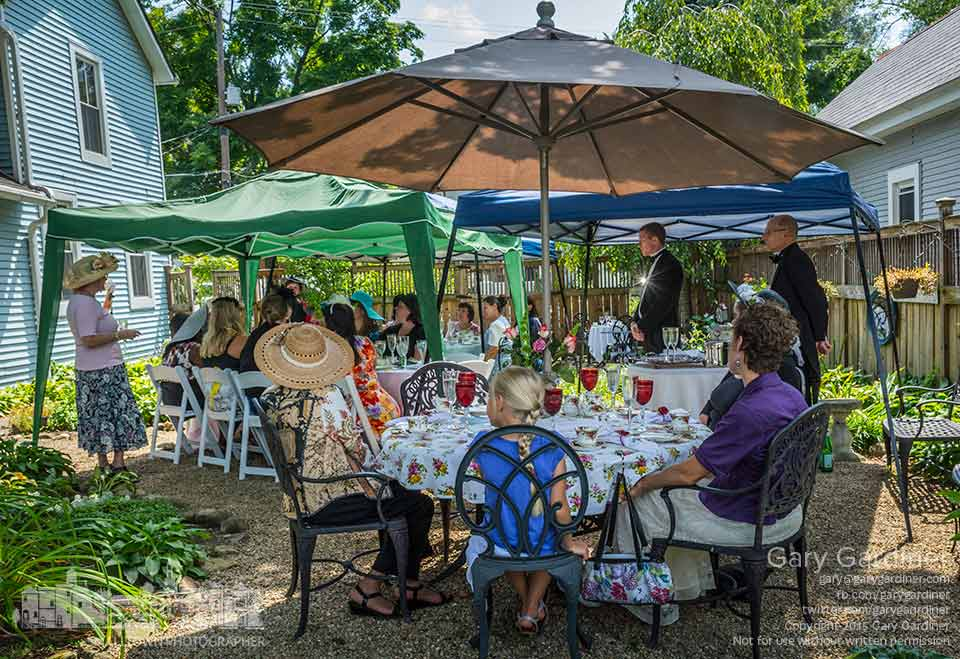Butlers in black tie and tails stand ready to serve and assist at an English tea party at Blue Turtle tea and Spice in Uptown Westerville. My Final Photo for Aug. 23, 2015.