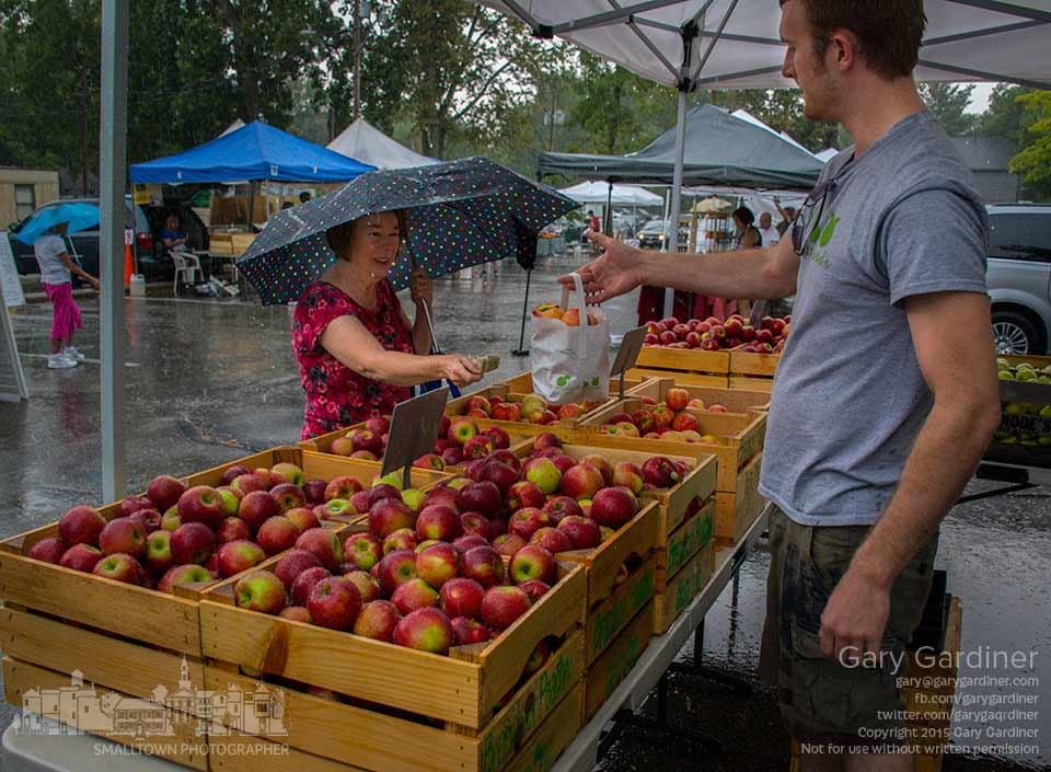 A woman braves a windy rainstorm to buy apples from Branstool Orchards at the Uptown Westerville Farmers Market. My Final Photo for Sept. 2, 2015.