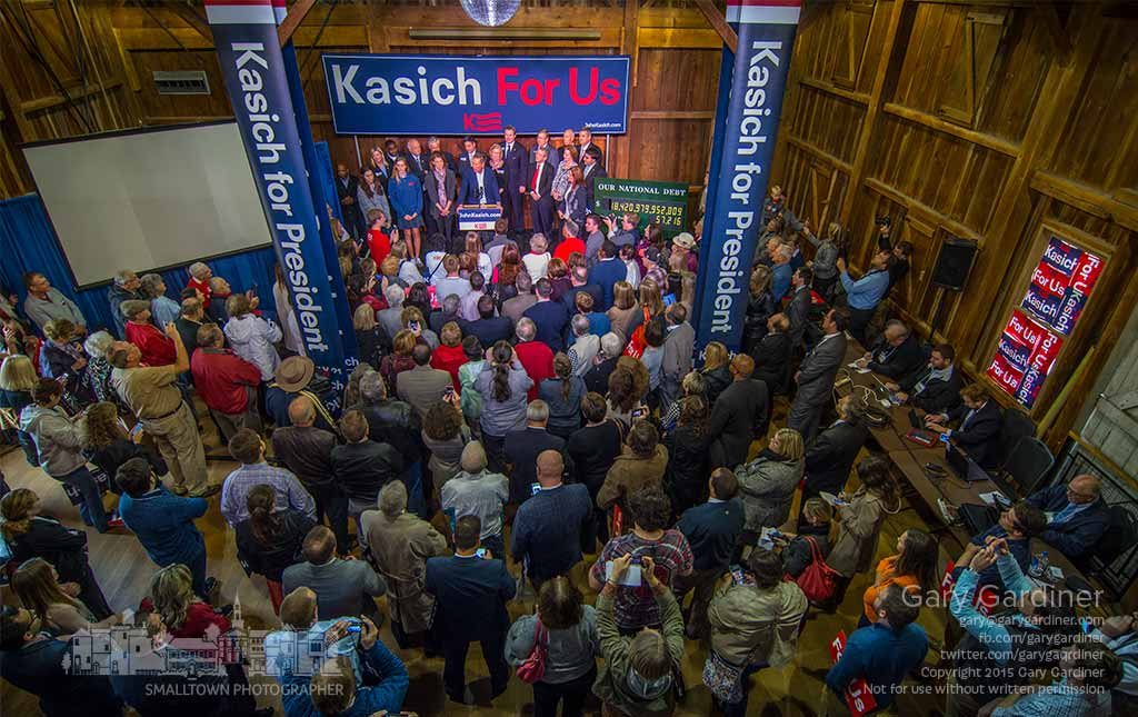Ohio Governor and Republican presidential candidate John Kasich talks to a small hometown crowd before traveling to the next candidate debate. My Final Photo for Oct. 27, 2015.