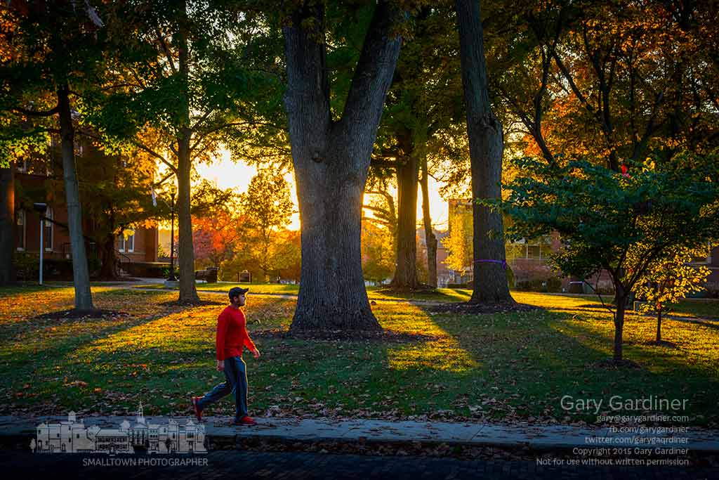An Otterbein student walks along Grove Street where late afternoon fall sun paints warm colors across the campus. My Final Photo for Nov. 3, 2015.
