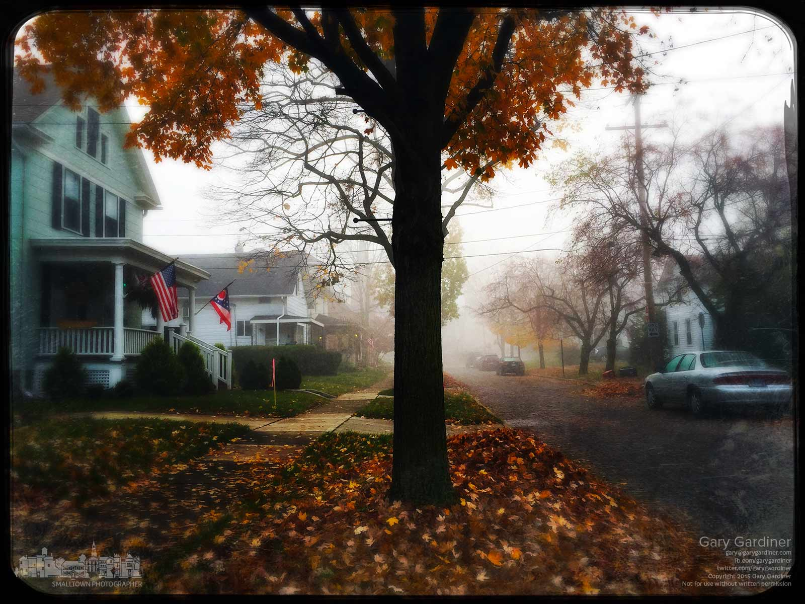 Fog obscures the distance of Winter Street in Uptown Westerville on a cool fall morning after most of the leaves have fallen from the trees. My Final Photo for Nov. 11, 2015.