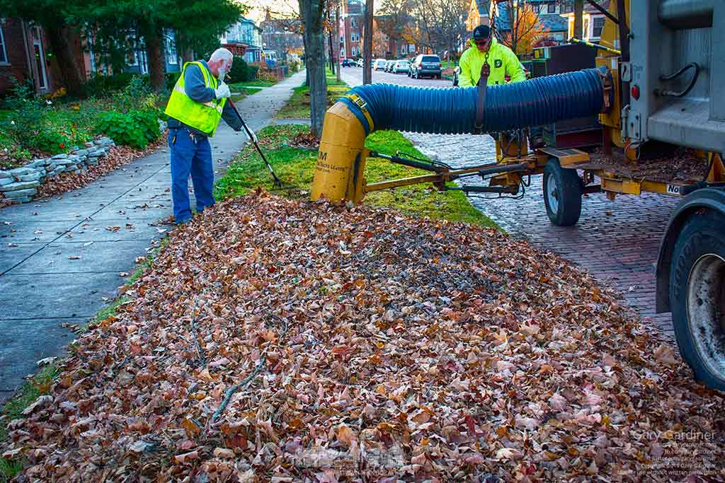 City workers finish clearing leaves on the final block of West College Street as the city's leaf collection program goes into its last days of the season. My Final Photo for Nov. 19, 2015.
