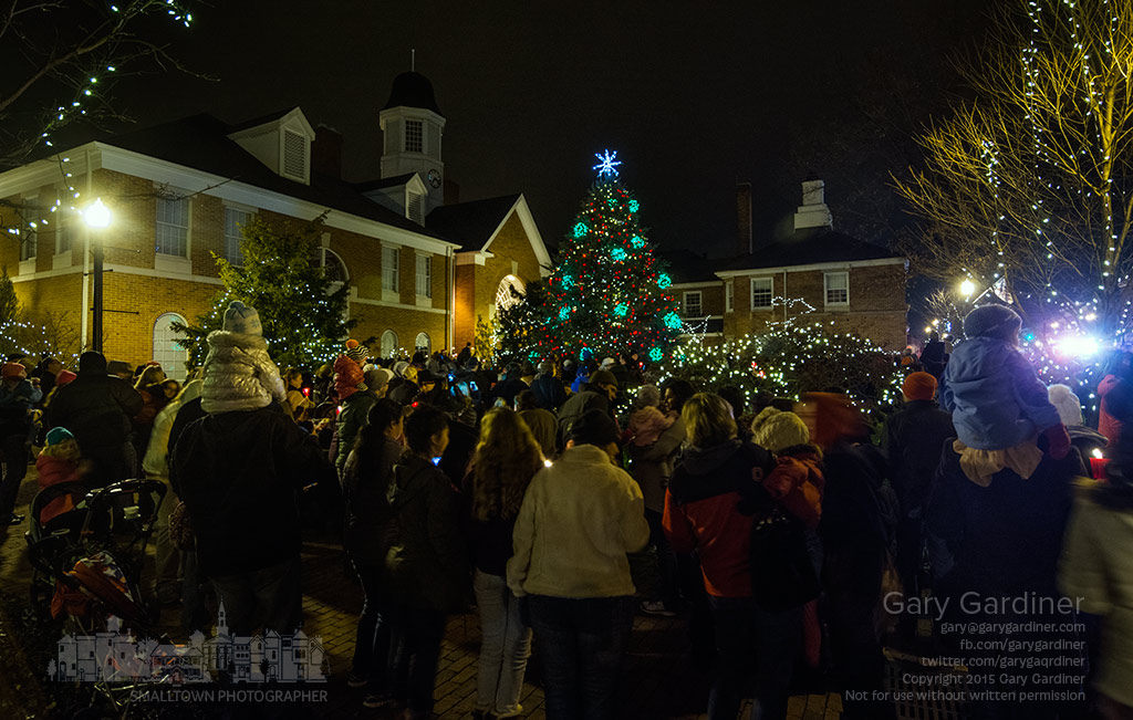 The crowd gathers close to the Christmas tree at city hall moments after a switch was thrown lighting the tree for the 2015 holiday season. My Final Photo for Dec. 4, 2015.