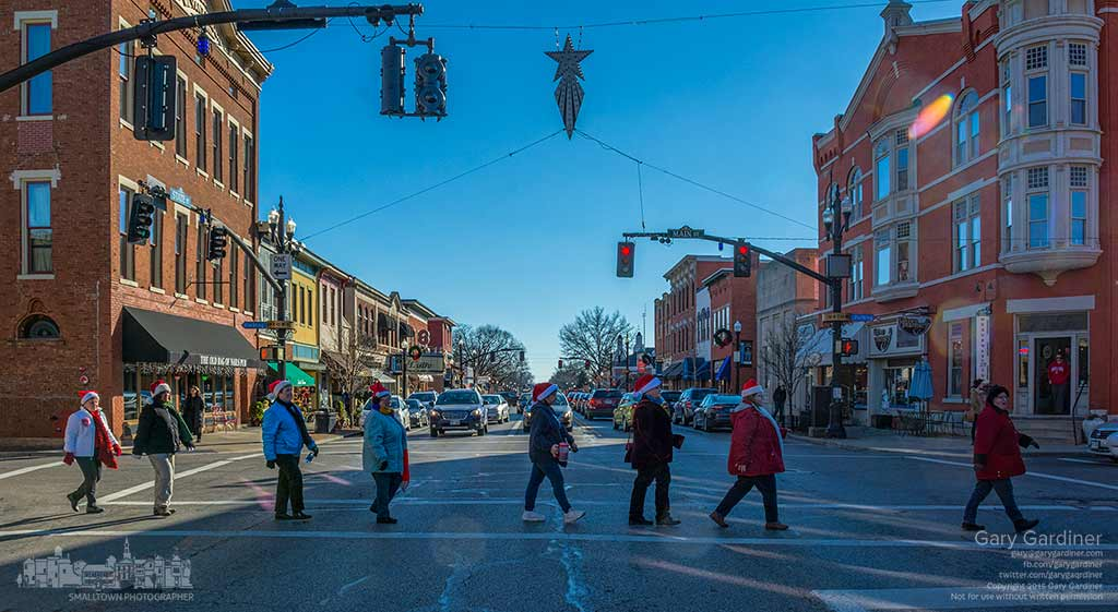 The singing Adelines cross State Street on their way to another performance in Uptown during the final weekend of Home for the Holidays before Christmas. My Final Photo for Dec. 19, 2015.