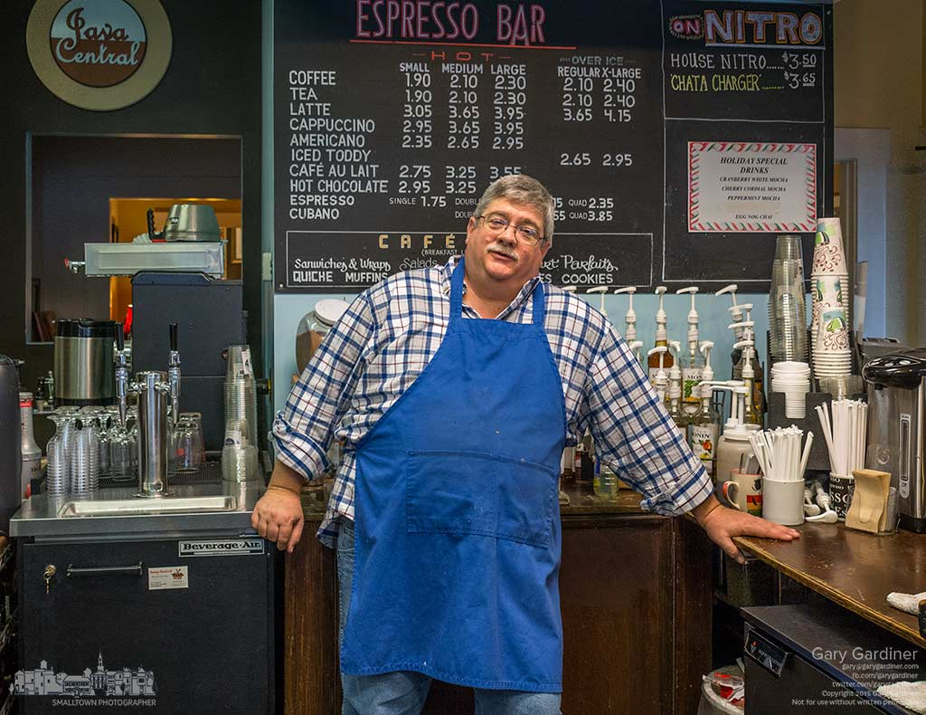 Wayne stands in the kitchen at Java Central late in the day as the coffee shop prepares for closing for New Years and and will serve its last cup of coffee for the year. My Final Photo for Dec. 31, 2015.
