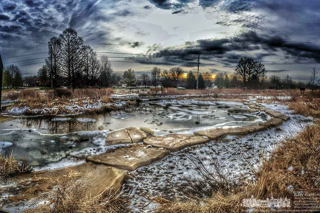 Warmer overnight temperatures melts snow and ice covering sections of Highlands Park wetlands. My Final Photo for January 15, 2016.