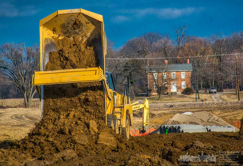 The construction crew building the new hotel at Polaris and Cleveland move dirt around the site changing the elevation for the hotel grounds. My Final Photo for February 23, 2016.