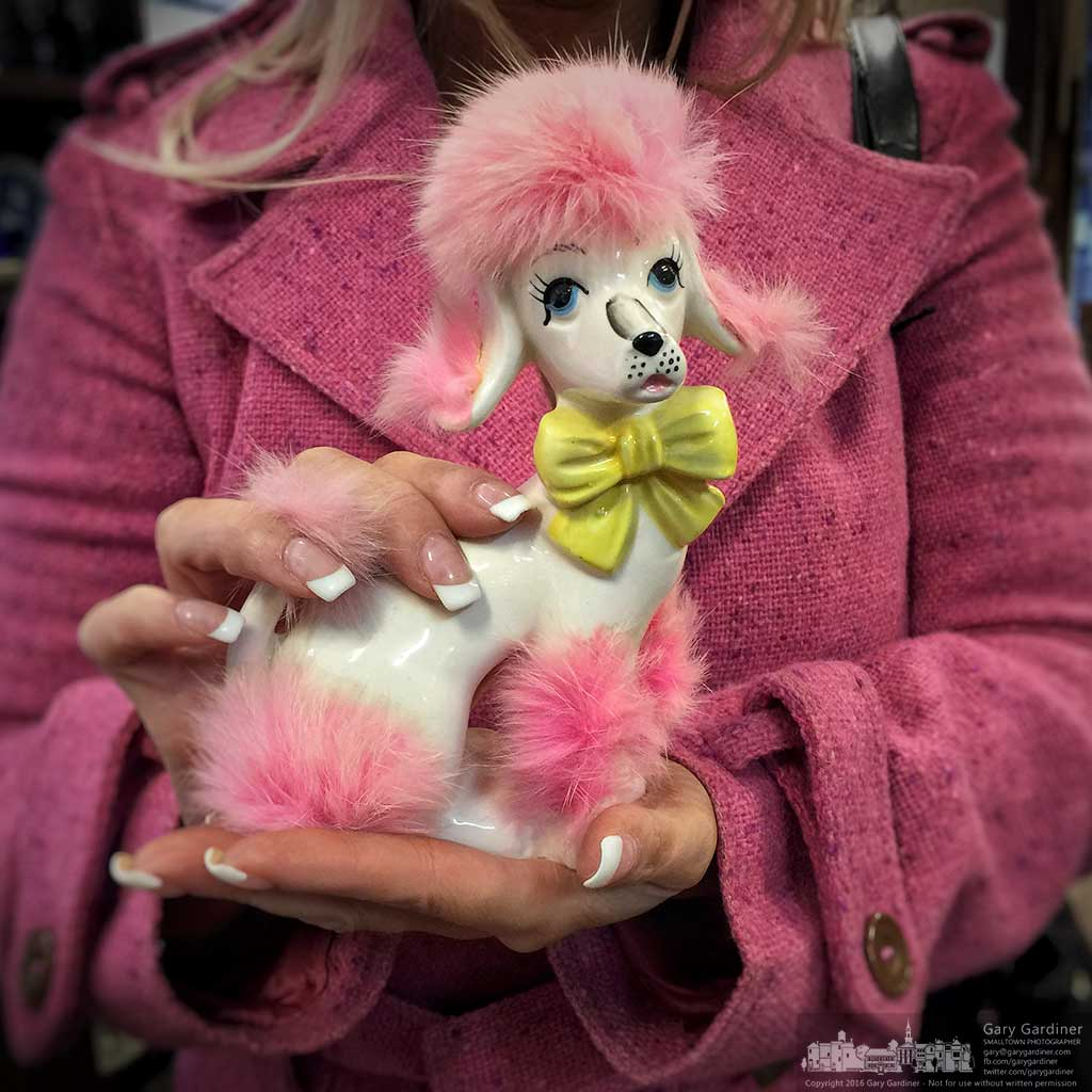 Customer at Westerville Antiques holds an antique porcelain poodle with pink trim to match her coat as she ponders a purchase. My Final Photo for February 12, 2016.