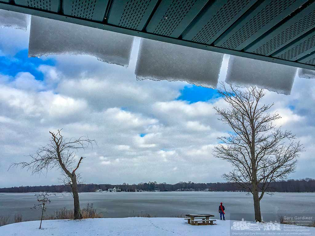 Snow hangs from the roof of the shelter at Red Bank Harbor in the shape of the troughs built into the metal roof. My Final Photo for February 17, 2016.