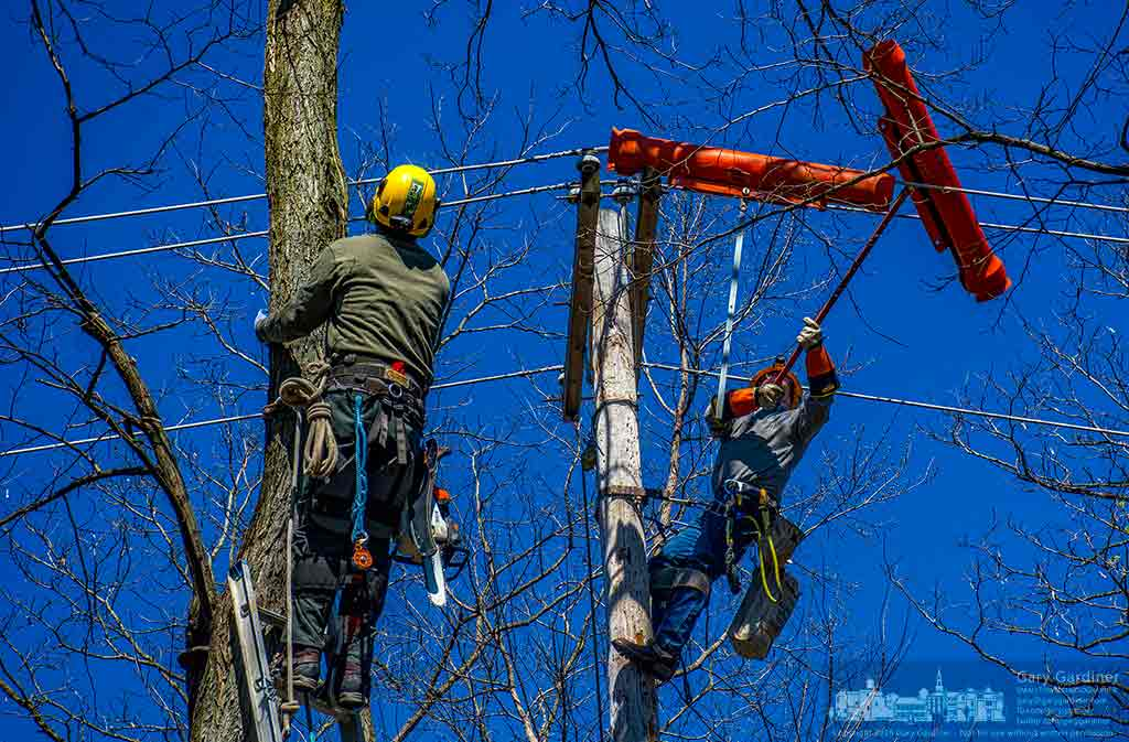 A Westerville electrical worker installs protective covers over power lines beneath limbs from a tree planned for removal from the back yard of a home. My Final Photo for March 29, 2016.