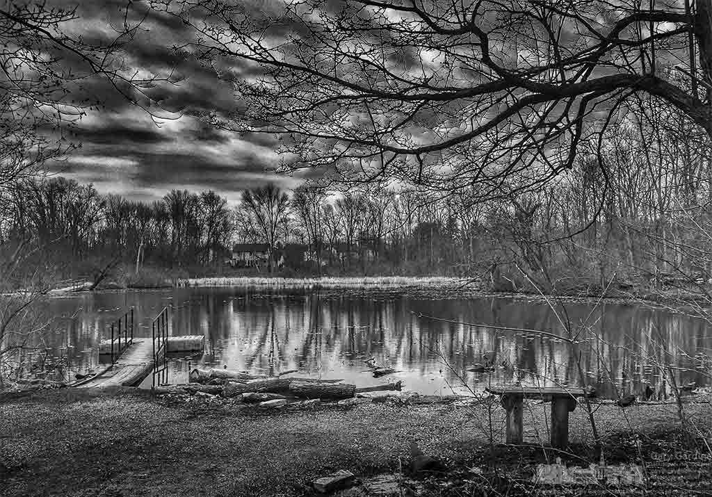 Cloudy skies move over the still waters and still brown plants on a cool spring afternoon at Boyer Nature Preserve in Westerville  OH. My Final Photo for April 10, 2016.