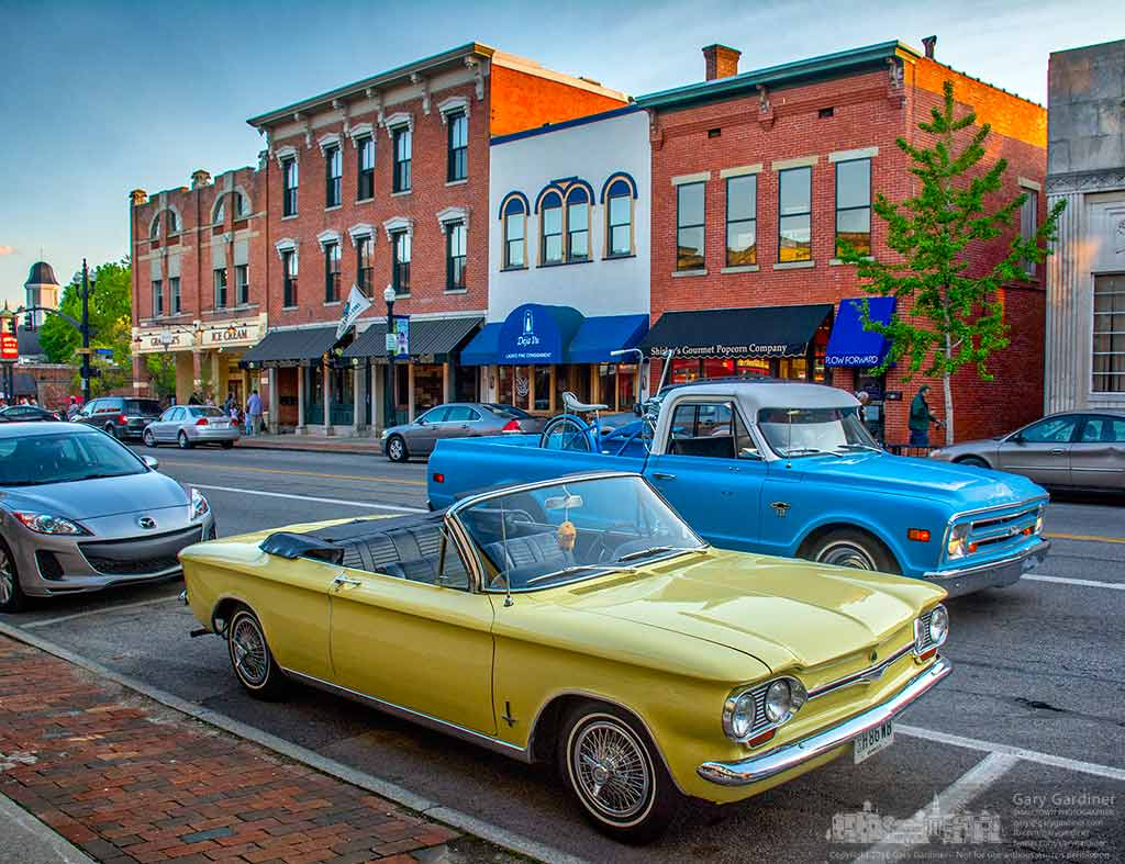 Vintage cars dotted Uptown Westerville Friday night and filled the parking lot of a bank during Cruisin' Uptown, a monthly event showcasing local vintage car owners collections. My Final Photo for May 6, 2016.