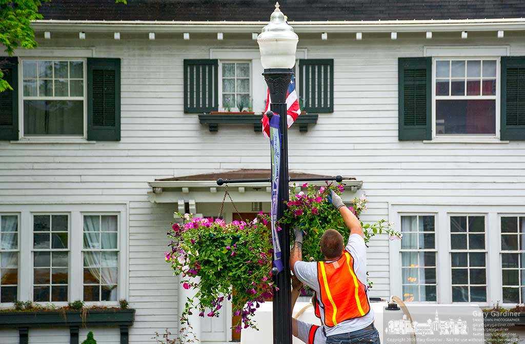 City workers install petunia hanging baskets on street light poles in Uptown Westerville marking the unofficial start to summer in the city.  My Final Photo for May 17, 2016